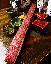 Horse meat tartare sushi box