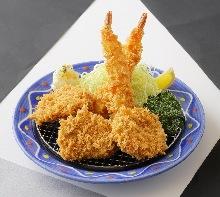 Fillet cutlet and fried shrimp meal set
