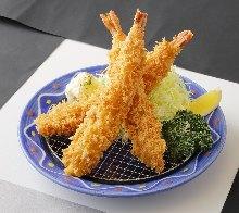 Deep-fried shrimp set meal