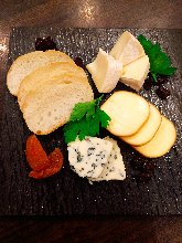 Platter of various dried fruits and cheese