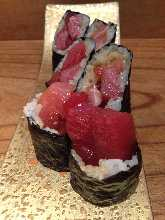 Fatty tuna and pickled radish sushi rolls