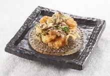Mixed seafood tempura