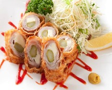Fried meat wrapped asparagus and cheese