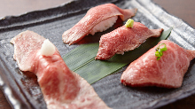 Assorted beef sushi, 4 kinds