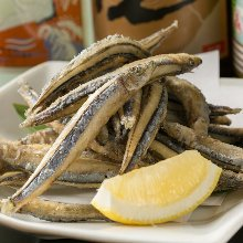 Fried silver-stripe round herring