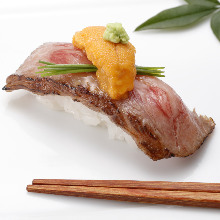 Wagyu beef rare steak nigiri