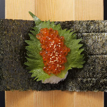 Hand-rolled salmon roe sushi