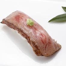 Wagyu beef rare steak nigiri