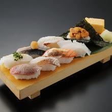 Assorted seared nigiri sushi