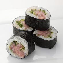 Negi toro (minced tuna with green onions) sushi rolls