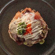 Crab tomalley salad