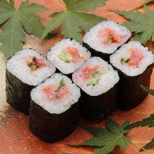 Pickled plum and cucumber sushi rolls