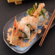 Shrimp tempura and avocado roll