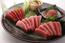 Assorted tuna sashimi