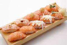 Assorted salmon nigiri sushi
