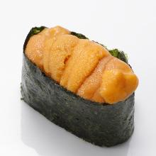 Raw sea urchin gunkan sushi rolls