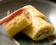 Wrapped omelet with eel