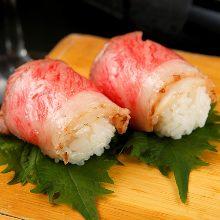 Beef sushi rolls