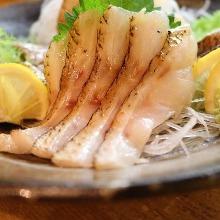 Seared rosy seabass sashimi