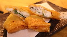 Fried spring roll with shrimp, whitefish, and cheese