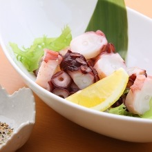 Chopped fresh raw octopus