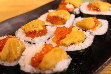 Sea urchin and salmon roe