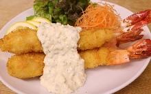 Deep-fried whole shrimp