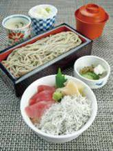 Whitebait and seafood rice bowl and soba meal set