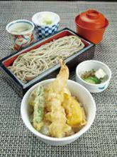 Tempura rice bowl and soba meal set
