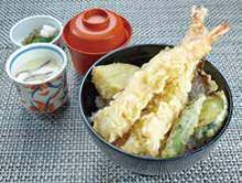 Seafood and vegetable tempura rice bowl