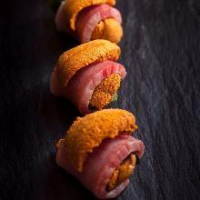 Wagyu beef and raw sea urchin roll
