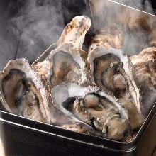 Oyster steamed in sake