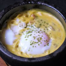 Stone grilled carbonara with soft-boiled egg