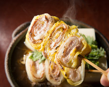 Pork skewer sukiyaki hot pot