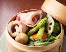 Steamed pork and seasonal vegetables