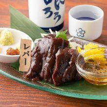 Horse liver sashimi