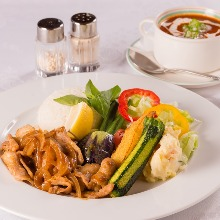 Stir-fried pork set meal