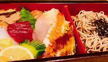 Chirashi seafood rice bowl and soba meal set