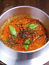 Shirasu and ikura kamameshi (pot rice)