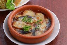 Mackerel, prosciutto, and iburi gakko ajillo