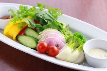Bagna cauda with seasonal vegetables, and 2 kinds of dipping sauce