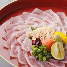 Thinly sliced thread-sail filefish sashimi