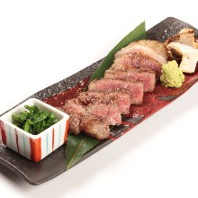 Charcoal grilled Wagyu beef sirloin steak