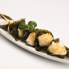 Fried Japanese yam wrapped in seaweed