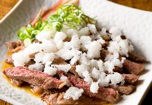 Thinly sliced Wagyu beef loin with grated daikon and ponzu