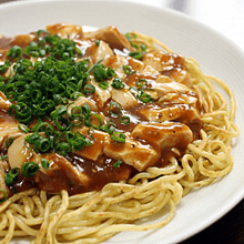 Yakisoba noodles with spicy mabo sauce