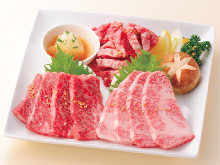 Assortment of three kinds of grilled beef with grilled vegetables