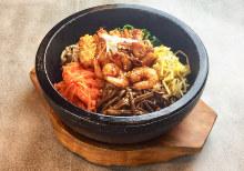 Stone grilled seafood bibimbap