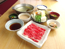 Beef shabu-shabu set meal