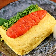 Japanese-style rolled omelet with spicy cod roe